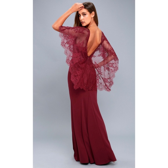 c1763b0706c9 NWT Lulu s Amelie Burgundy Lace Maxi Dress
